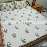 Indian Hand Block Print Cotton Bed Cover Bedsheet with 2 Pillow Covers