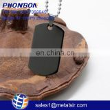 Army Style Dog Tag Pendant Mens Necklace snake Chain black blank dogtag