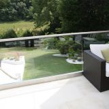 Easy to Install Toughned Glass Balustrade Design / Aluminum Base Shoes U Channel Glass Railing