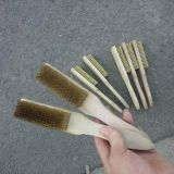 non sparking wire brass brush , wooden handle