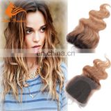 Popular Ombre Light Brown Free Part Unprocessed Remy Human Hair Closure Body Wave Swiss Lace Raw Brazilian Hair Lace Closure
