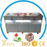Thialand Roll Fry Ice Cream Machine Double Pan Thailand Stir Fried Ice Cream Machine China Factory Supply Fry Ice Cream Machine