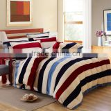 Chinese best selling 4pcs twill fabric red and black stripe print full duvet cover set stripe print bedding set