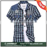 2014 new fashion Men's strips formal shirt short sleeve shirt 100%cotton fabric types
