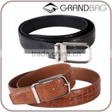 100% good quality gift genuine crocodile skin leather classic belt factory hot selling pin buckle belt for men simple noble
