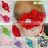 Wholesale accessories Chiffon rose flowers lace hairband fabric flowers with pearls MY-AB0038