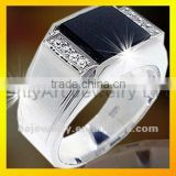 2012 wholesale fashion black CZ set sterling silver mens ring jewelry