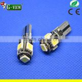 W5W T10 Canbus 5 SMD 5050 LED 5chips 194 168 501 LED For car clearance light white blue yellow green