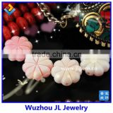 New arrival wholesale semi precious stone jewelry flower carved loose bead