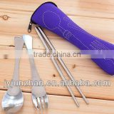 Stainless Steel travel spoon fork set with cloth bag packing and low price