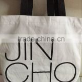 High quality white Cheap Promotional Shopping Cotton Bag with black handle
