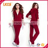 GuangZhou LuoQi plain custom sweat suits women hoodies velour tracksuits wholesale