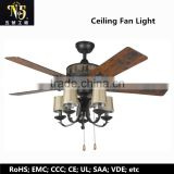 Modern Style french gold body Ceiling Fan Lamp Led Lighting wooden blade remote control with 2 warranty