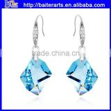 Alibaba jewelry alloy blue crystal single stone earring designs