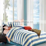 100% cotton fabric pigment print stripe new design bright color bed sheet set