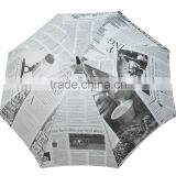 14mm pole straight umbrella with newspaper printing