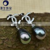 9-10mm black color real sea water pearl baroque tahitian pearl earrings