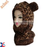New style leopard grain soft fleece children's crazy hats for kids