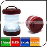 Waterproof ABS 2mode 5LED AAA Battery Portable Light Hand Lantern Mini Led Tensile Camping Lamp