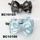 fashion fabric hair bow banana clip with stones