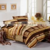 hot sale wholesale plain design 100% cotton colorful yellow golden and brown beautiful stripe pattern comfortable bedding set