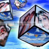 Acrylic Rotating Photo Display Cube, Revolving Picture Frame
