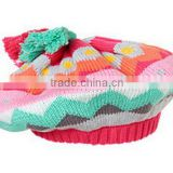 100% cotton chevron knit beret hat with top tassels