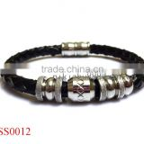 China factory fashion handmade leather 316l stainless steel jewelry bracelet men's