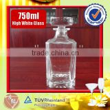 Hot selling high grade 750ml glass square whisky decanter with glass lid