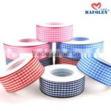 Factory wholesale kinds of ribbon polyester wedding dresses plaid purple blue ribbon