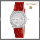 Gorgeous Red Leather Dazzling Diamond Lady Hand Watch Japan Quartz Watch Movement