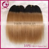 Aliexpress wholesale 7a 8a virgin brazilian human two tone ombre colored hair weave bundles straight ombre hair for black women