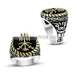 925K Silver Art Design Saudi Arabia Palm Tree Sword Men Black Ring