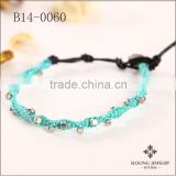Evil eye glass beads bracelete sea blue cord braided silver faceted alloy beads wrap bracelets