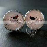 20mm silver plated bird shadow cut blue sky art collage round glass cabochon fashion cufflinks wedding cuff link gift 6600056