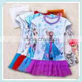 Hot sale wholesale cotton frozen elsa anna baby dress new style kids frozen clothes girl elsa frozen dress