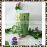 Fashionable Wedding Craft Green Geometric Mosaic Antique Cheap Wholesale Glass Flower Vase