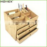 Desktop Bamboo Organizer with Drawer in Office/Cosmetic and Makeup Storage Organizer/Homex_FSC/BSCI Factory