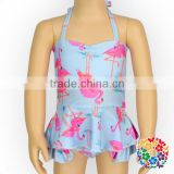 Summer Blue Two-Piece Girls Swimsuits Cute Baby Swimwear With Pink Flamingo Design