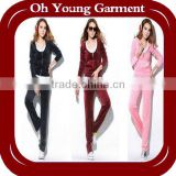 velvet long sleeve and pants training & jogging wear sets, women cotton hooded sweatshirt sets