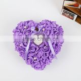 2015 New comming purple ring bearer pillow/wedding heart shaped ring pillow with pear beads/PE rose ring flower with rhinestone