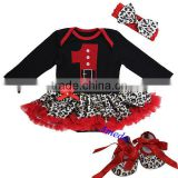 Baby Xmas Black Red Leopard 1st Santa Long Sleeves Bodysuit Jumpsuit Romper Pettiskirt Headband Crib Shoes NB-18M