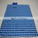 Machine washable Fleece Picnic Blanket Tote, Navy Plaid Travel Blanket, Foldable Waterproof Picnic Rug