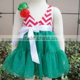 Hot sale Green color with white bows and green red flower babies dresses for infant