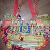 Zari Embroidary Cotton Fabric Banjara Bags / Tote Bags Gujrati Handbags For Ladies From Jaipur India