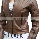 New style slim and smart genuine lamb leather jackets for women with big collar, Pakistan