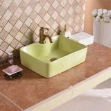 Bathroom rectangle green color ceramic new modern style art basin sink from china