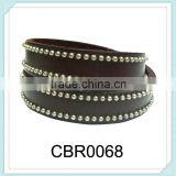 Latest designs punk style fashion jewelry round PU wholesale leather punk bracelets,steel ball leather wrap bracelet