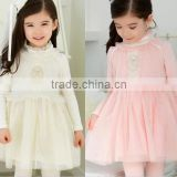 Lace Dress High Collar Long Sleeve Baby Girl Gauze Dress 2015 Dress Stock 5pcs/Lot