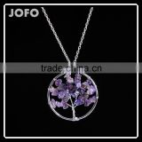Fashion Amethyst Natural Stone Tree Of Life Charm Necklace Jewelry Manufacturer China SMJ0175